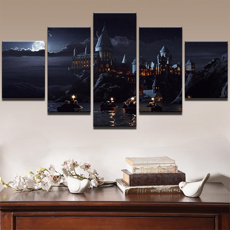 Hd Printed 5 Piece Wall Art On Canvas Harry Potter School Castle