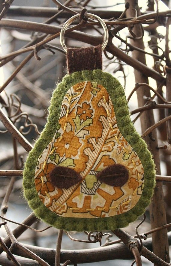 pear felt and fabric pear shaped embroidered key ring green and paisley