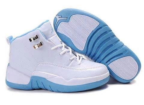 Infant/toddler high-top Air Jordan shoes light blue & white