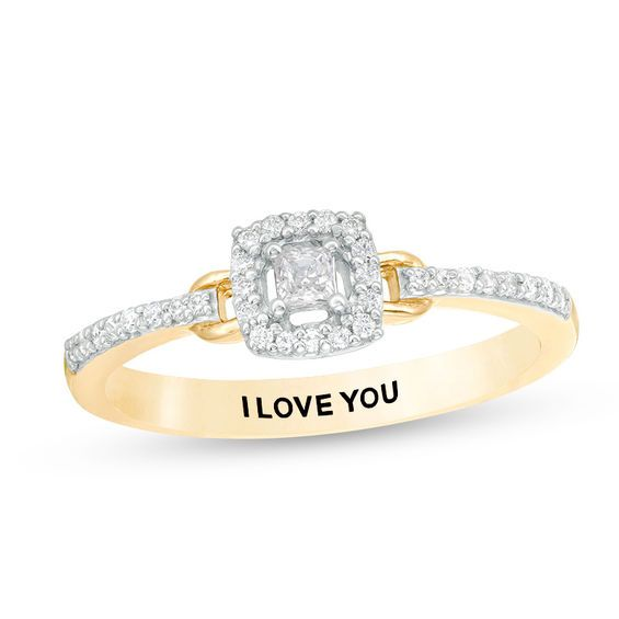 d29e33b1691 Engravable 1 5 CT. T.w. Princess-Cut Diamond Frame Buckle Promise Ring in
