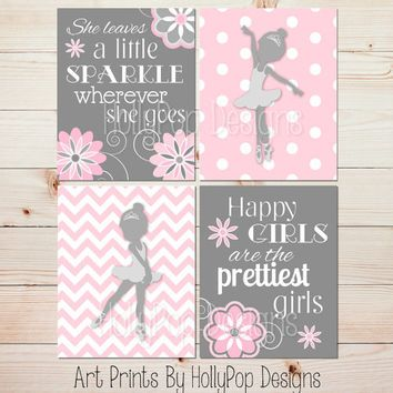 Nursery Art Toddler Girls Room Ballerina Wall Decor She Leaves A Little  Sparkle Art Print Pink Gray Bedroom Decor Baby Girl Nursery