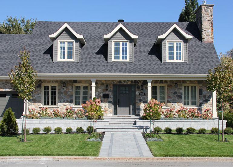 Am nagement paysager r sidentiel canadienne modernis e devantures de maison en 2019 house - Amenagement paysager devant maison ...