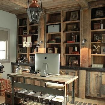 rustic modern home office design ideas | Rustic Built In Cabinets, Country, den/library/office ...
