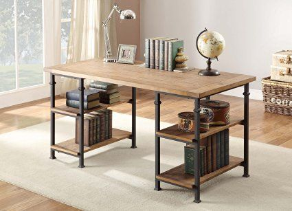 Home Elegance 3228-15 Writing Desk with Metal Finish, Burnished Brown