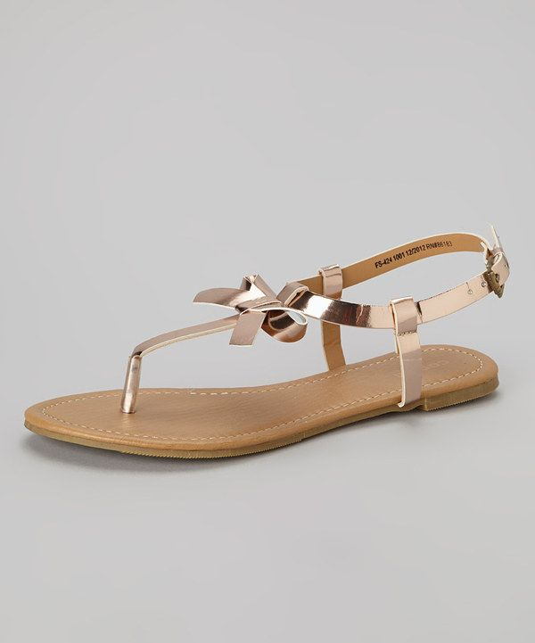 ab80220ad Another great find on  zulily! Rose Gold Metallic Bow Ankle Strap Sandal by  Capelli New York  zulilyfinds