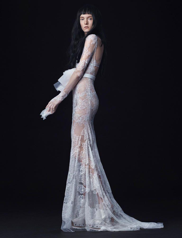 Vera Fall 2016 Long Sleeve Lace Sheath Wedding Dress With White Bow Belt