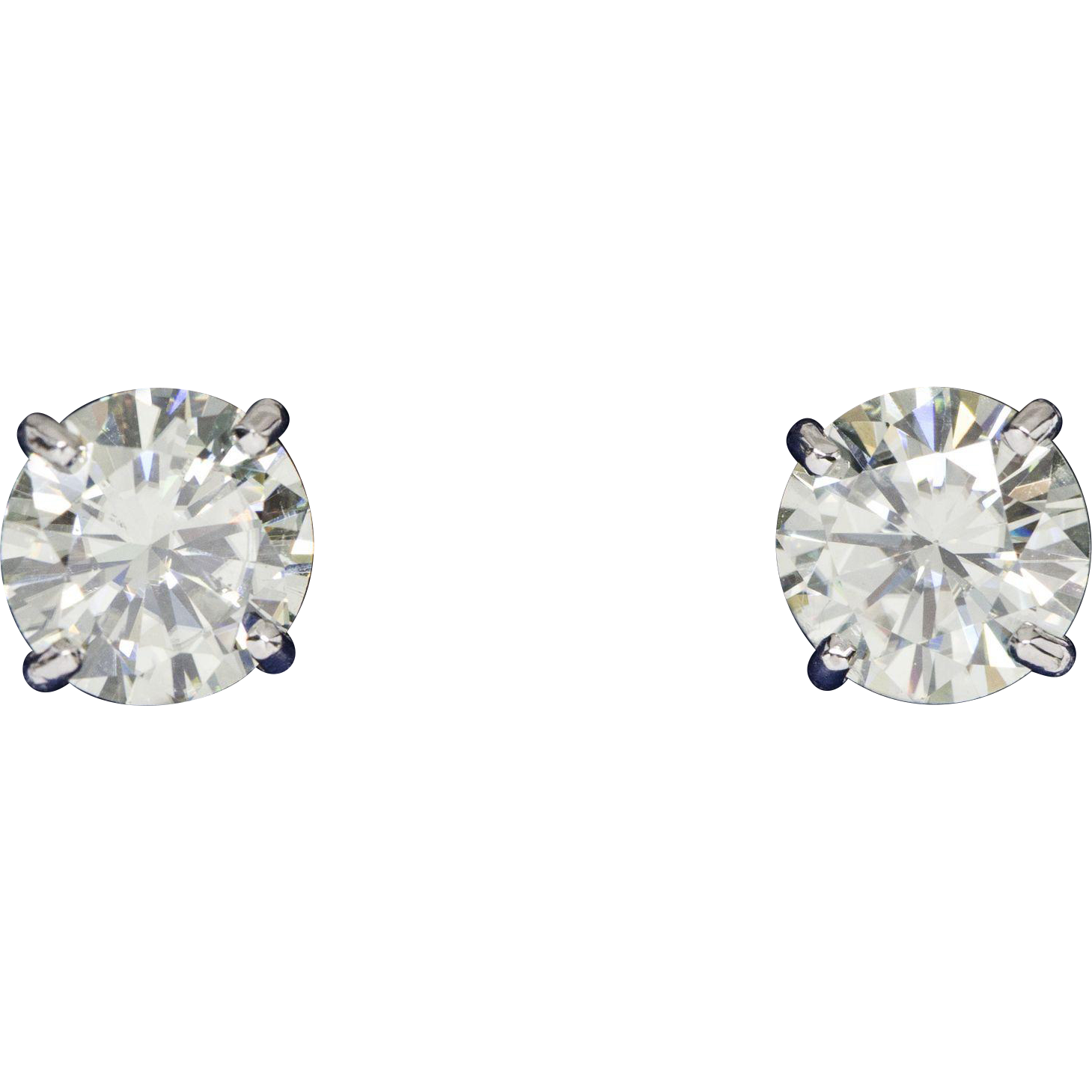 moissanite ebay brilliant bezel gold earrings round set forever stud itm
