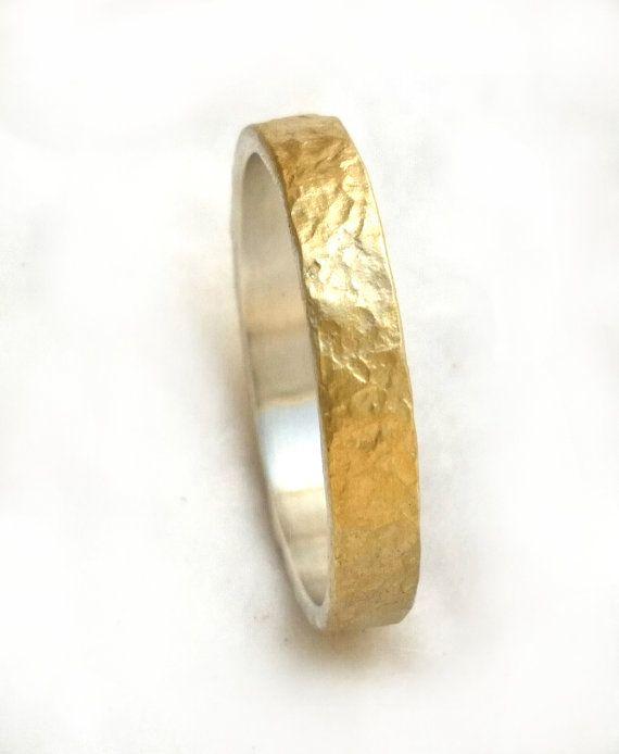 Narrow hammered gold wedding band thin wedding ring for him
