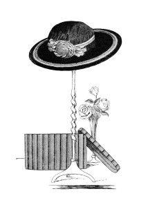 Clip Art ~ libre Hat en el Stand, Caja del sombrero y rosas