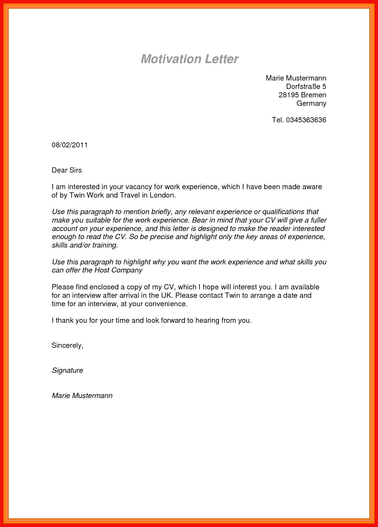Motivation Letter Format For Internship Scholarship Employment Motivation Letter Motivation Letter For Job Motivational Letter Lettering
