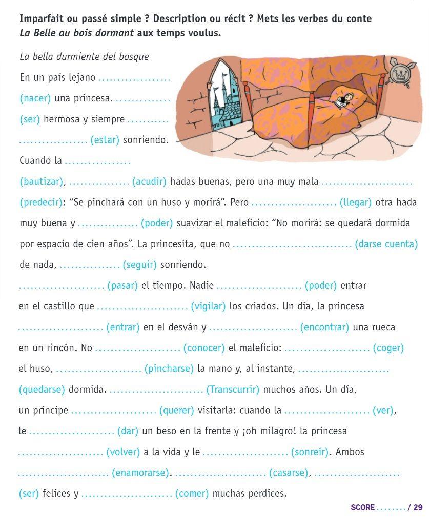 Imparfait Ou Passe Simple Belle Au Bois Dormant Grammaire Espagnole Passe Simple Espagnol