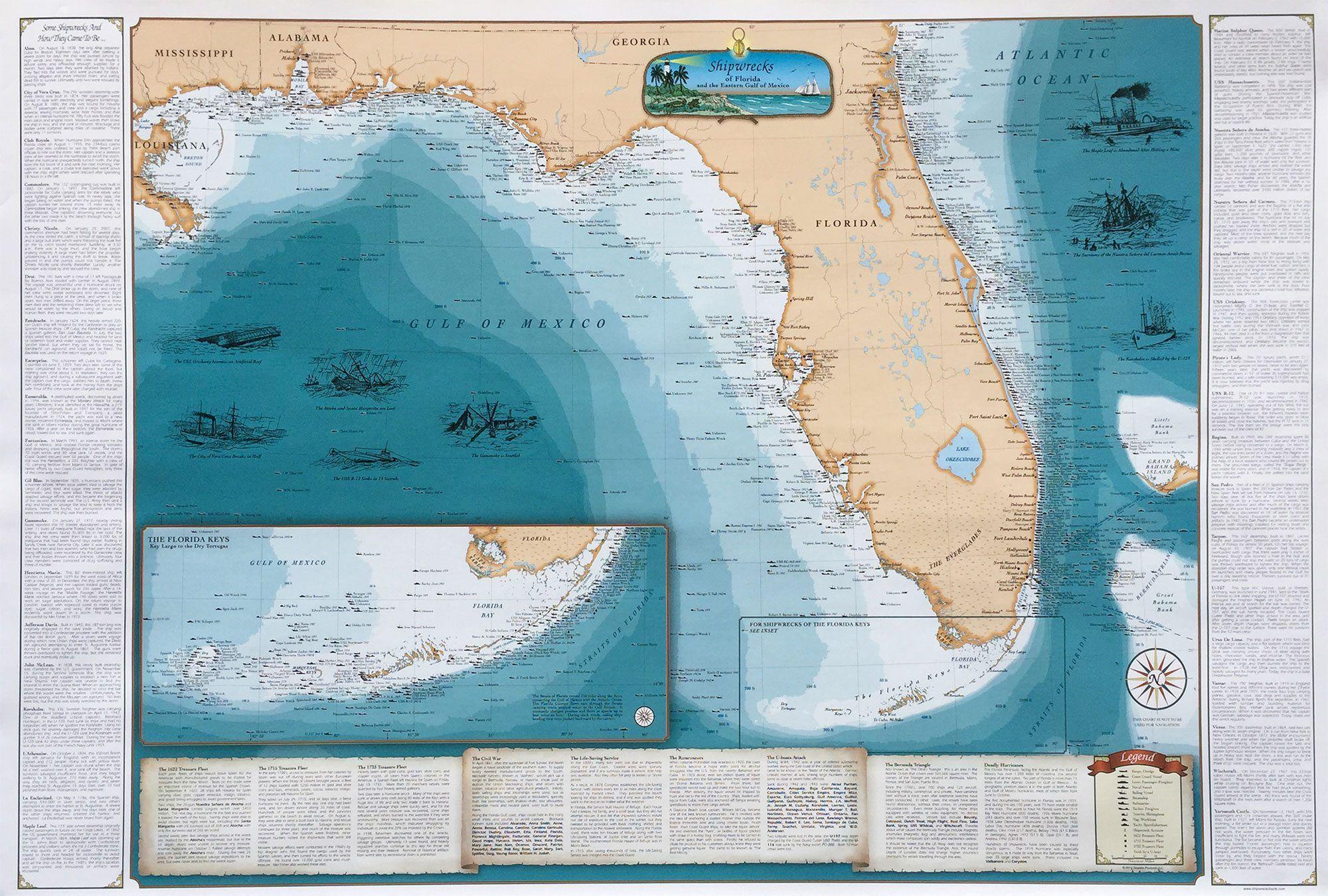 Florida Shipwrecks Map.Shipwrecks Of Florida And The Eastern Gulf Of Mexico Maps
