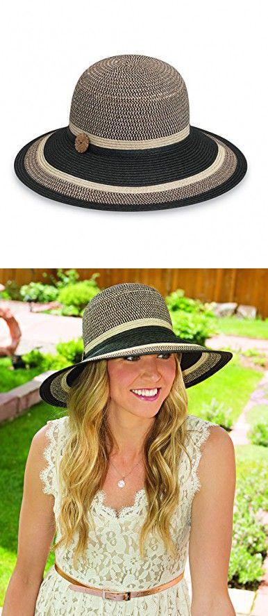 Wallaroo Women\'s Nola Sun Hat - 100% Paper Braid - UPF 50+, Black ...