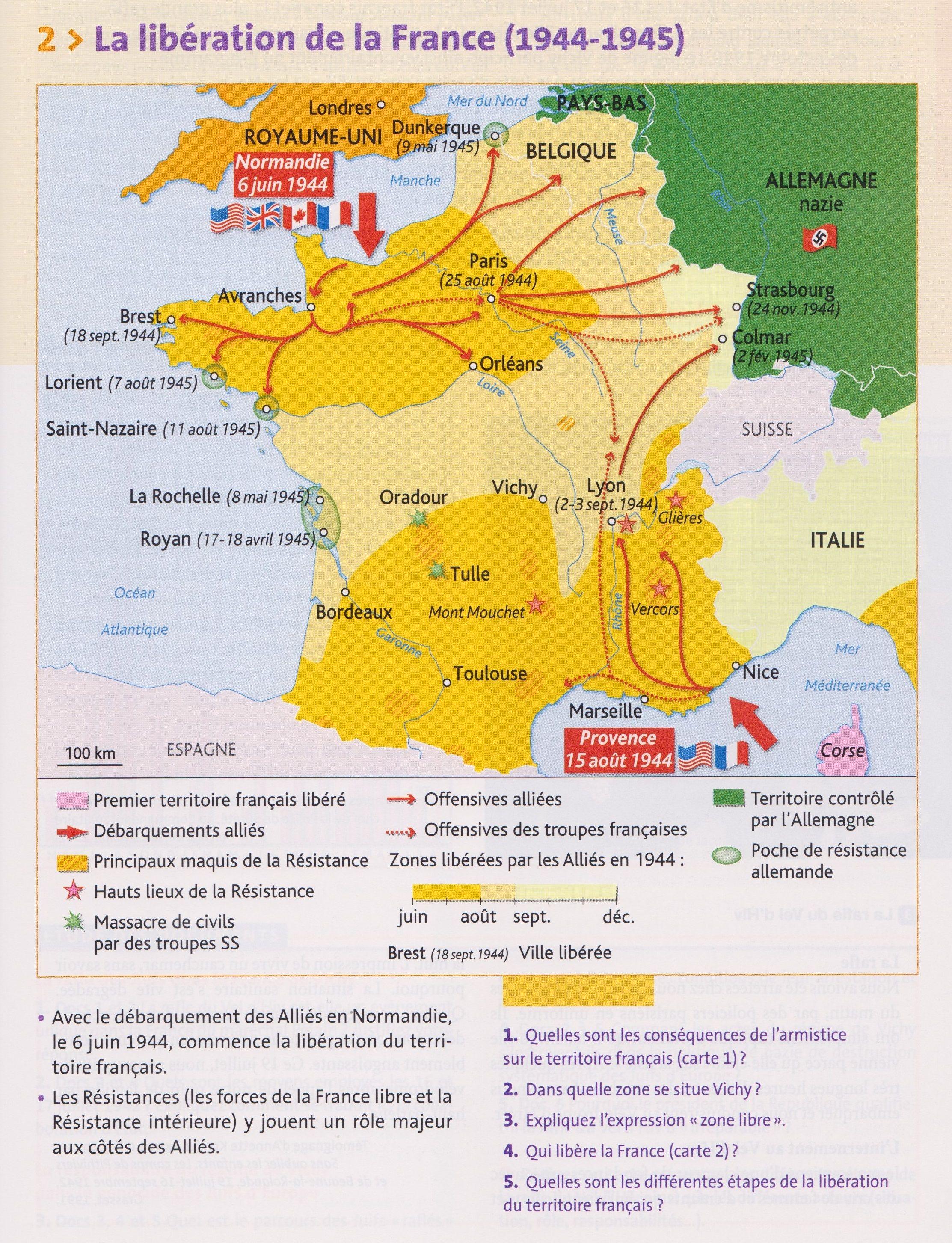 carte de la france PBac H4 : Carte de la libération du territoire français à la fin