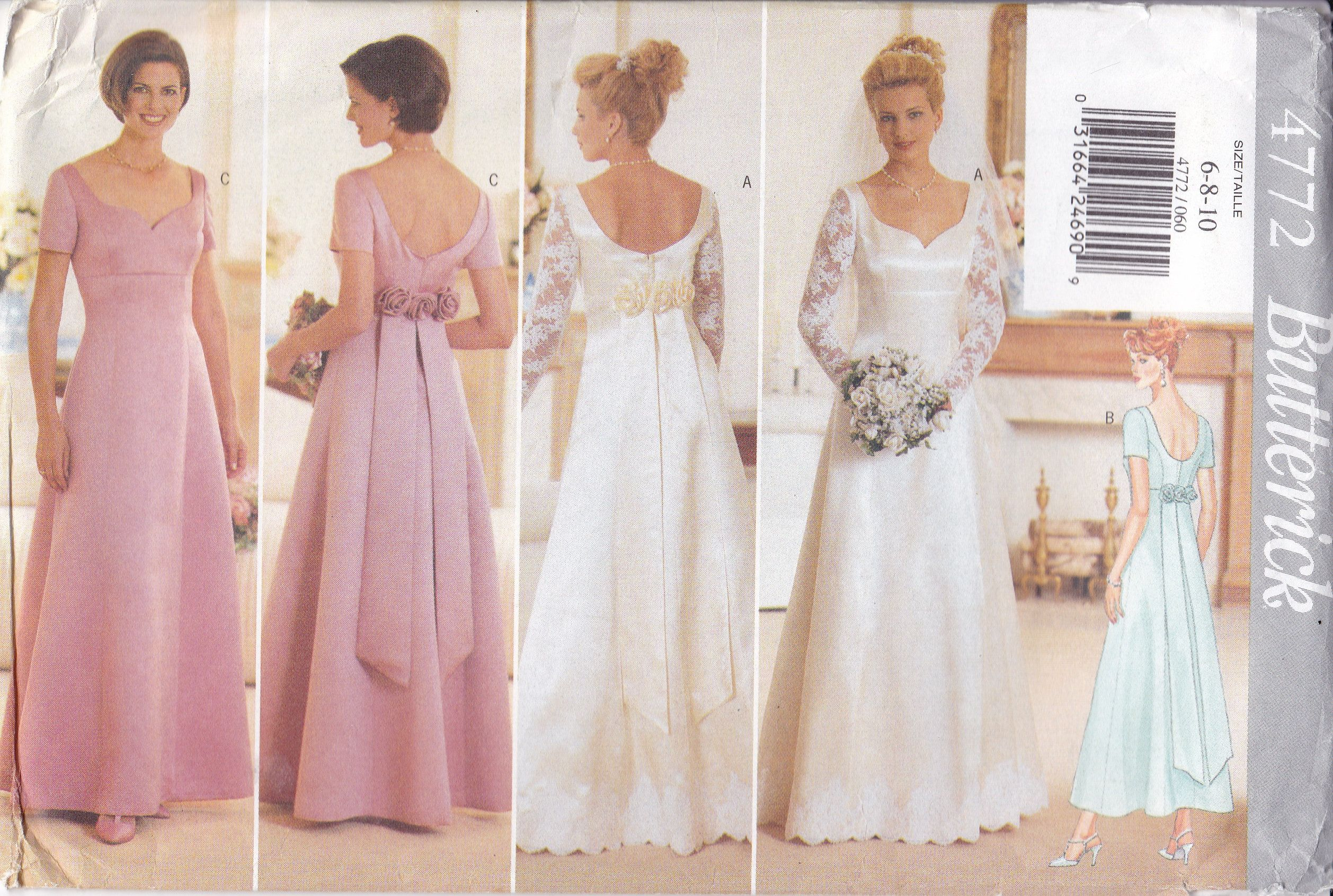 New Sewing Pattern Butterick 4772 For Wedding Gown Bridal Etsy In 2020 Gown Sewing Pattern Bridal Dresses Dress Patterns