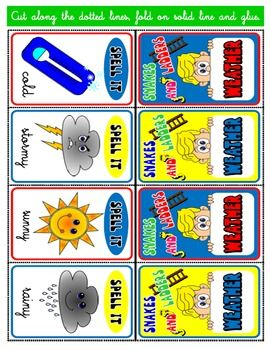 WEATHER SNAKES AND LADDERS CARDS | 4 - ENGLISH WITH GAMES 4 | Pinterest