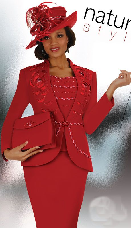 Red Ladies Church Suits With Matching Hats Aussie Austine Suits