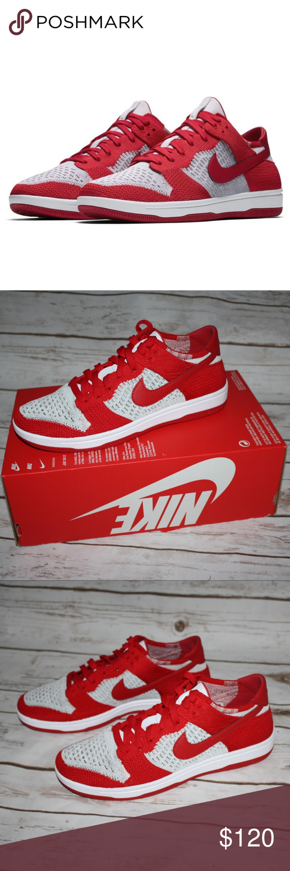New Nike Dunk Low Flyknit Brand New with box without lid Color  University  Red Wolf Grey White Style  917746 600 Nike Shoes Sneakers 944ad7368