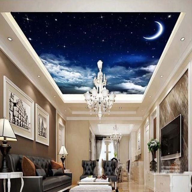 3D Blue Sky Broken Floor Ceiling Mural Wall Stickers Bedroom Living Room Decor