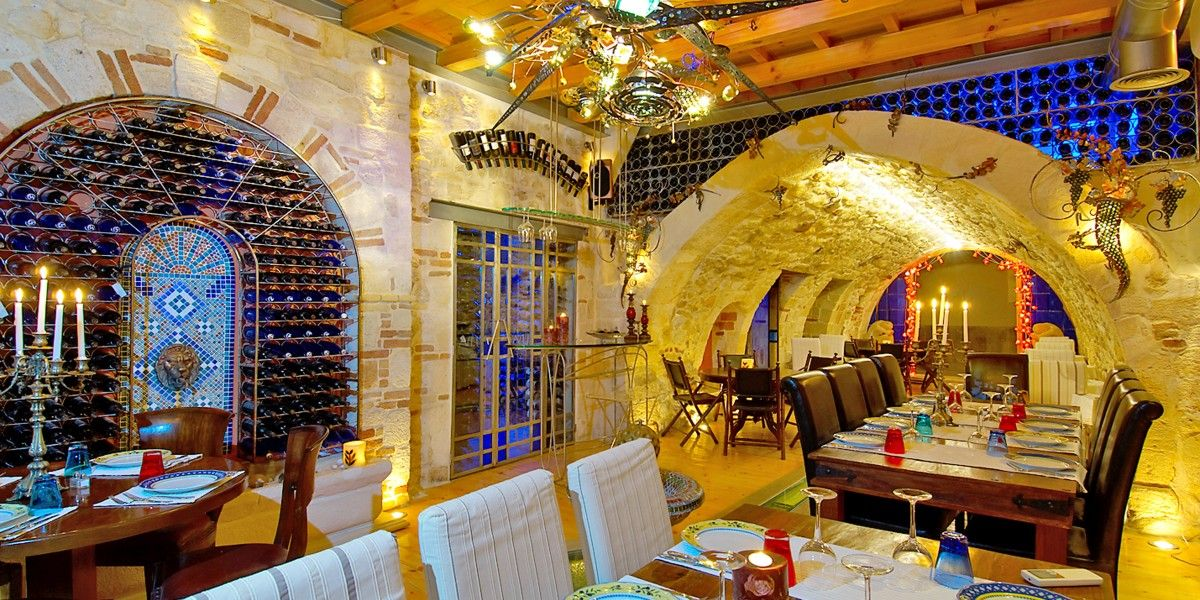 Enoteca Wine Bar has one of the largest wine cellars in Greece and stocks over 460 labels.Avli Lounge Apartments  Crete, Greece