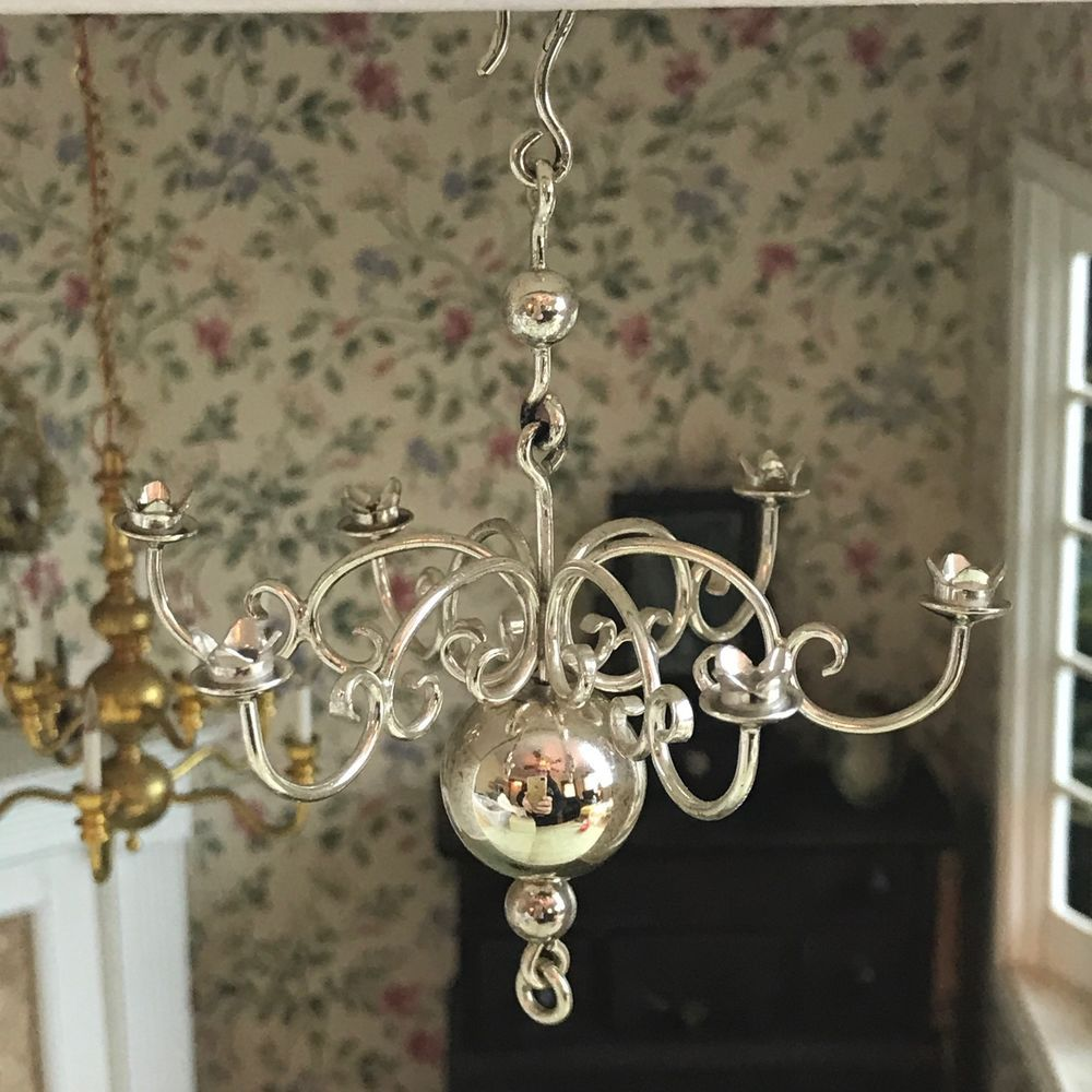 Vtg 1 12 Dollhouse Lighting Sterling Silver Chandelier Nos