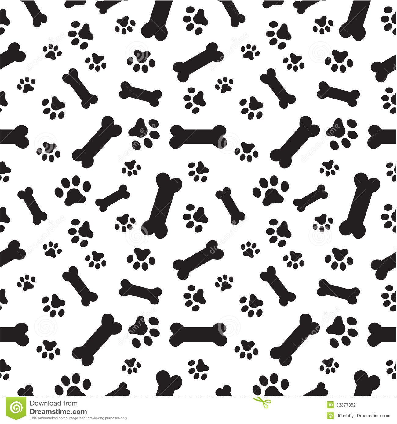 Dog Bones And Paws Pattern Stock Vector