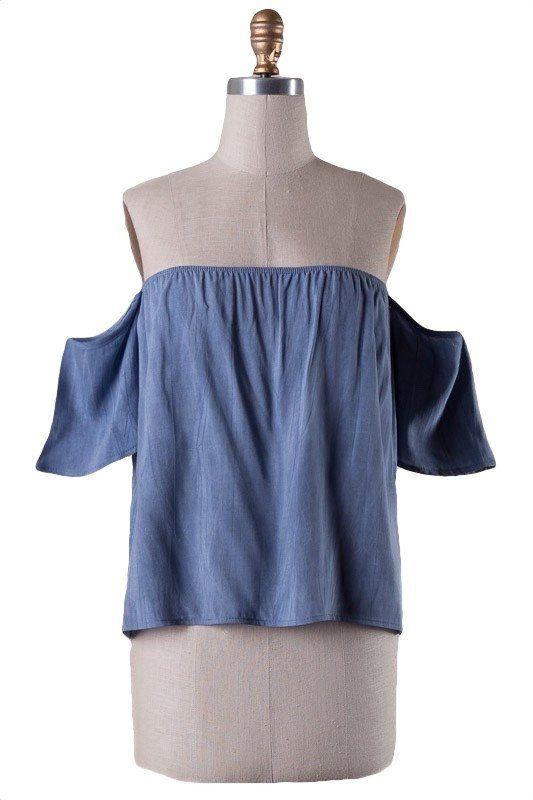 My Girl Off the Shoulder Blouse - Denim Blue
