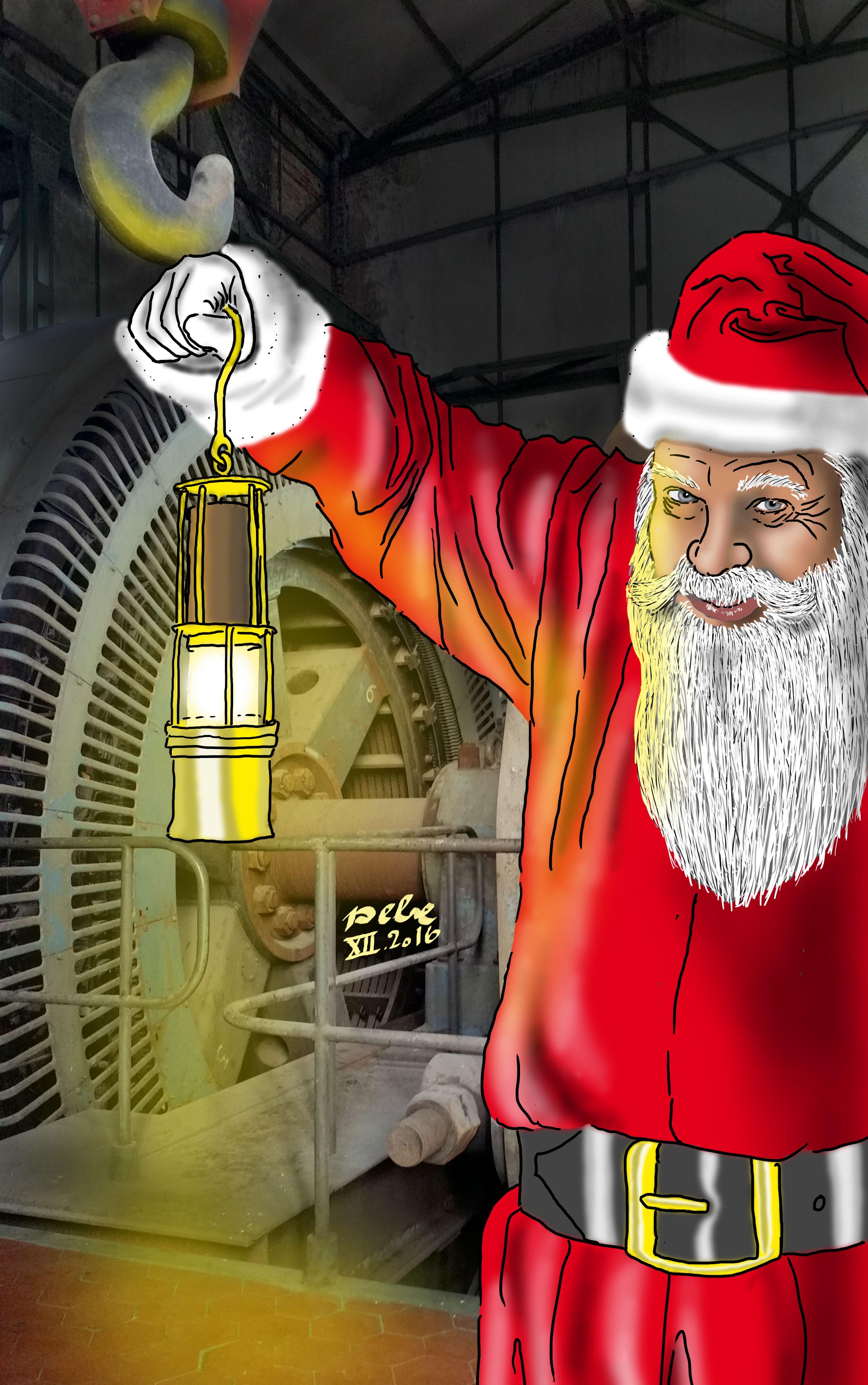 Weihnachtsmann im Förderturm Bönen, Grußkarte