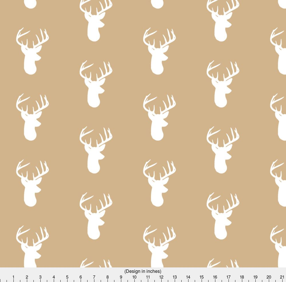 White Deer on Tan Fabric - Deer Heads On Tan By Modfox - Neutral ...