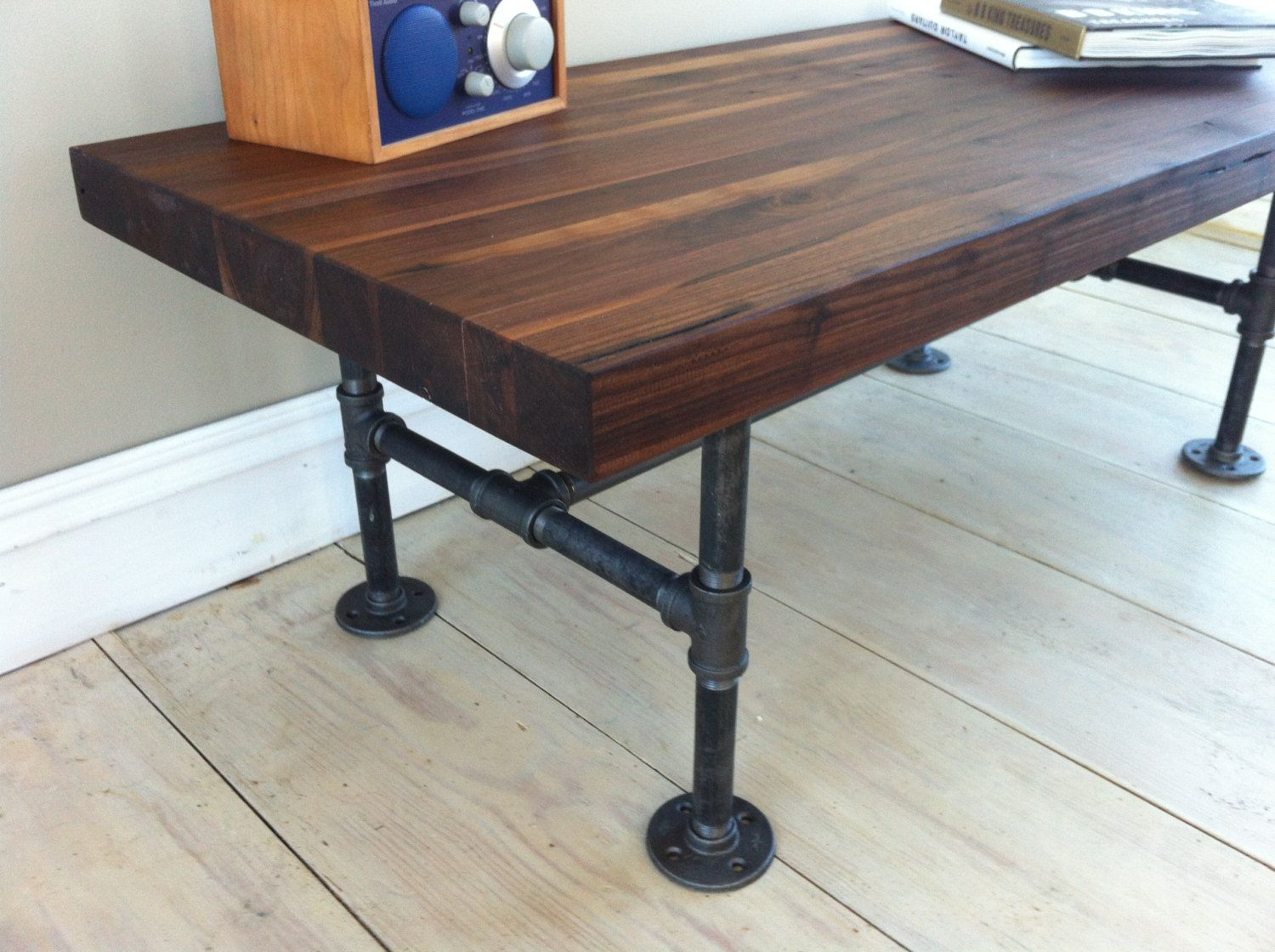 Awesome Furniture, Low And Large Vintage Large Butcher Block Work Table With Black  Metal Pipe Legs
