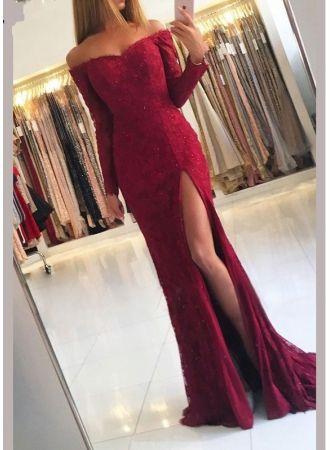 fashion abendkleider spitze mit Ärmel  rotes abendkleid lang günstig modellnummer xy615  prom
