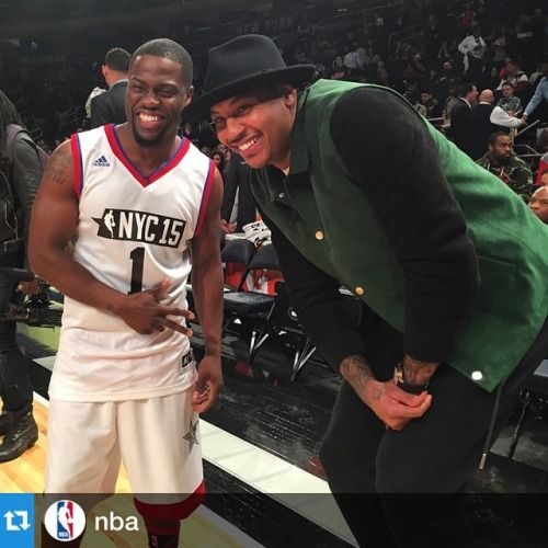 Just an observation: Im sure Kevin Heart would agree but Melo's Knee seems to be holding up pretty nicely during #AllStarNYC weekend   InstaNBA