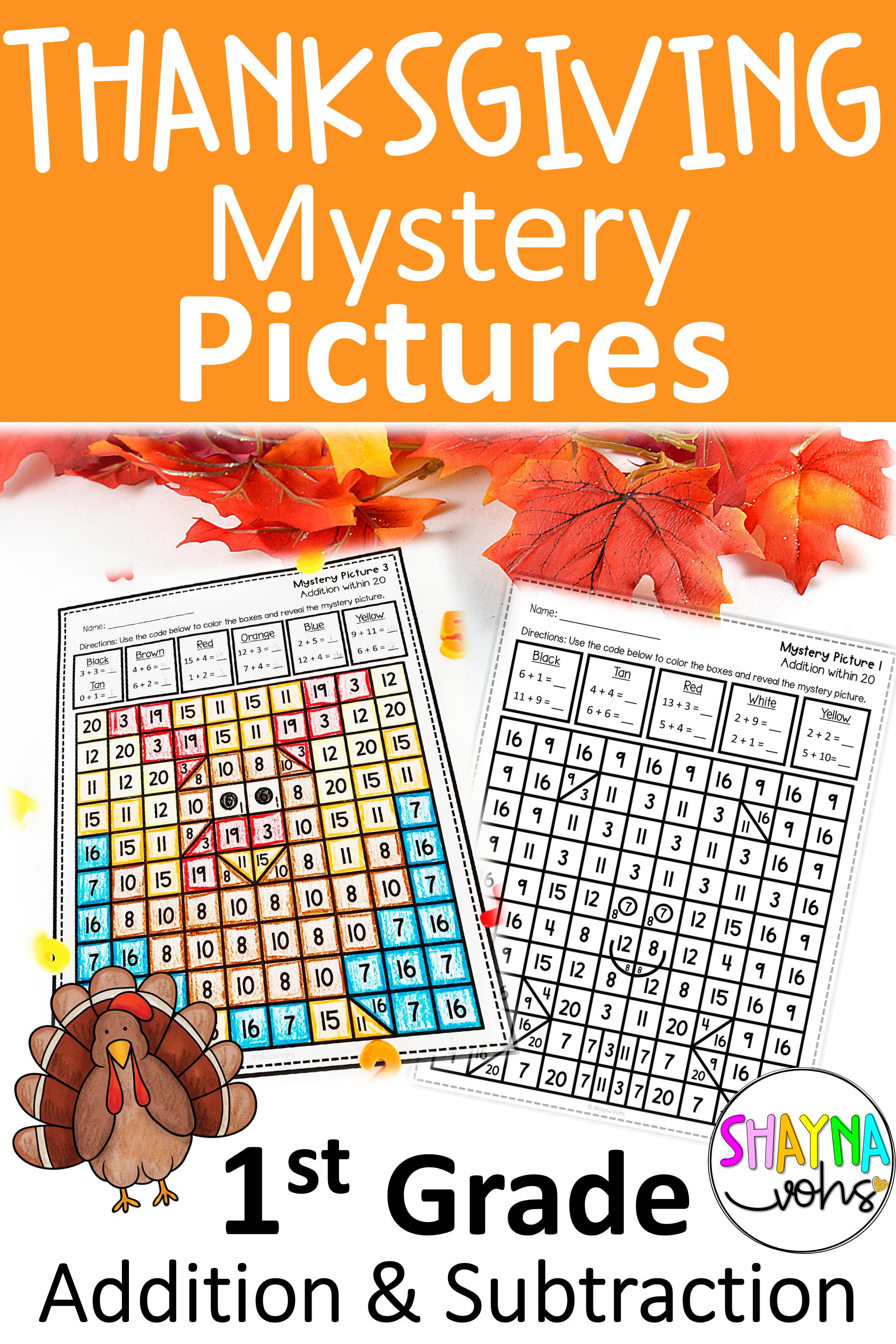 Thanksgiving Mystery Pictures Addition And Subtraction
