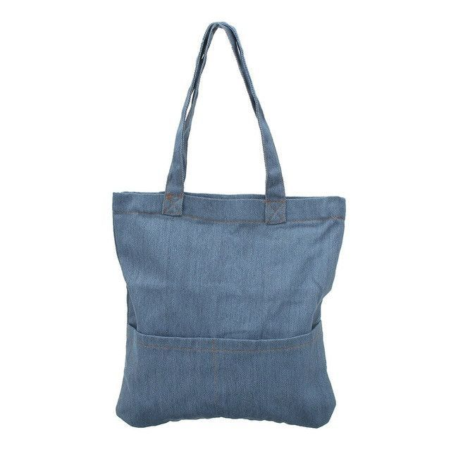 Osmond Women Denim Tote Bag Vintage Jeans Handbags Casual Blue Fabric Plain Handle Front Pocket Ping Book Organizer Shoulder Products Pinterest