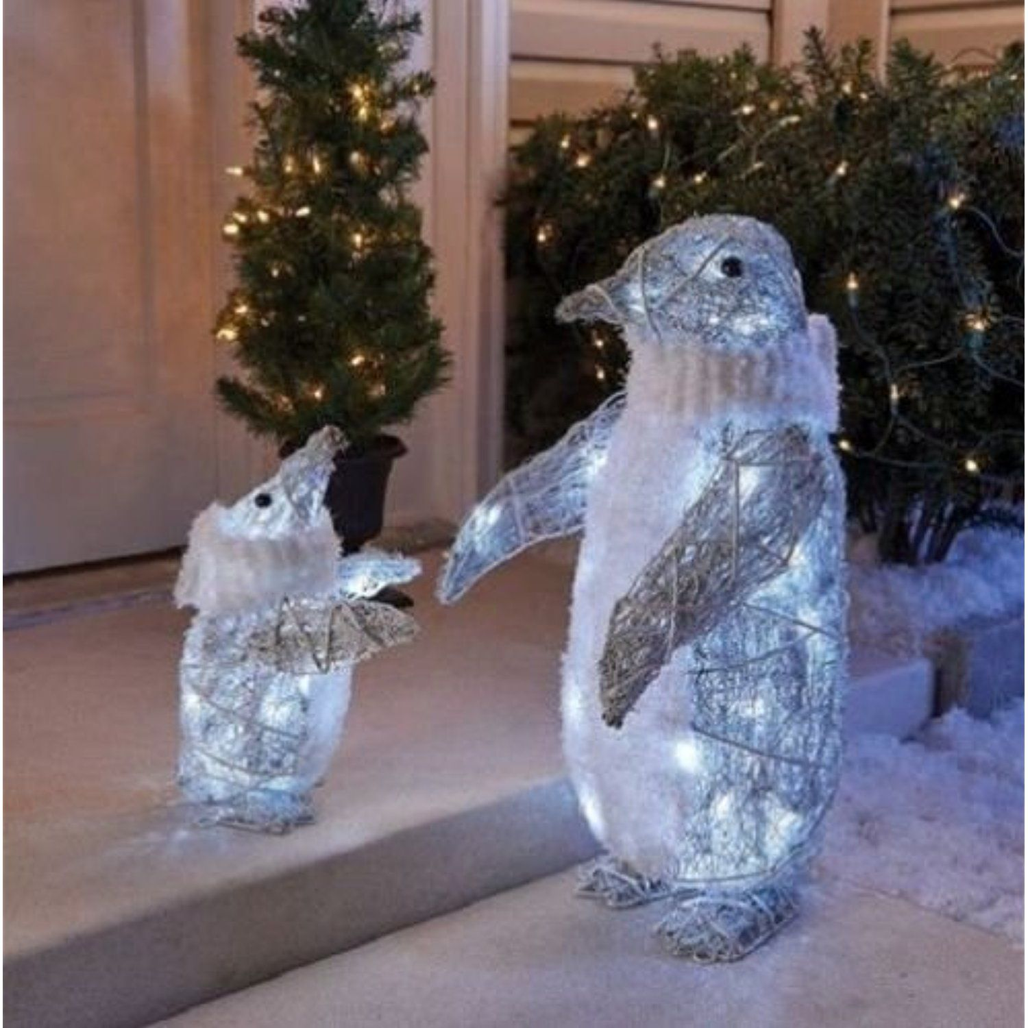 Outdoor Set Of 2 Cool White Twinkling Penguins Christmas Yard Lawn Decoration Garden Sculptures Co Penguin Christmas Decorations Christmas Penguin Penguins