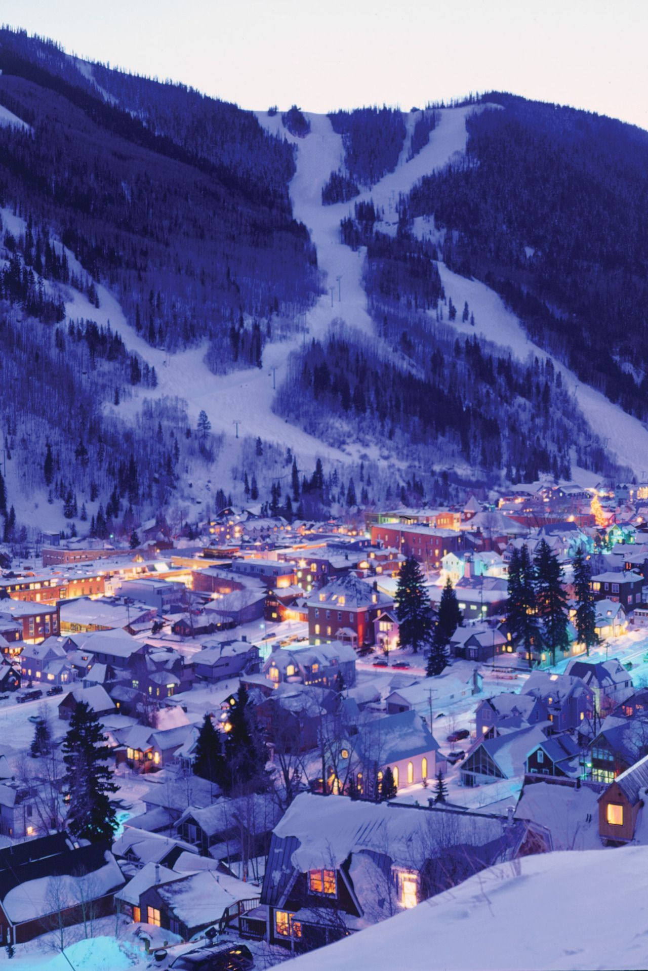 De Preciated Night Lights In The Town Of Telluride And Torchlight Parade On Slopes Ski Area By Visit Colorado Photo Doug Berry Group