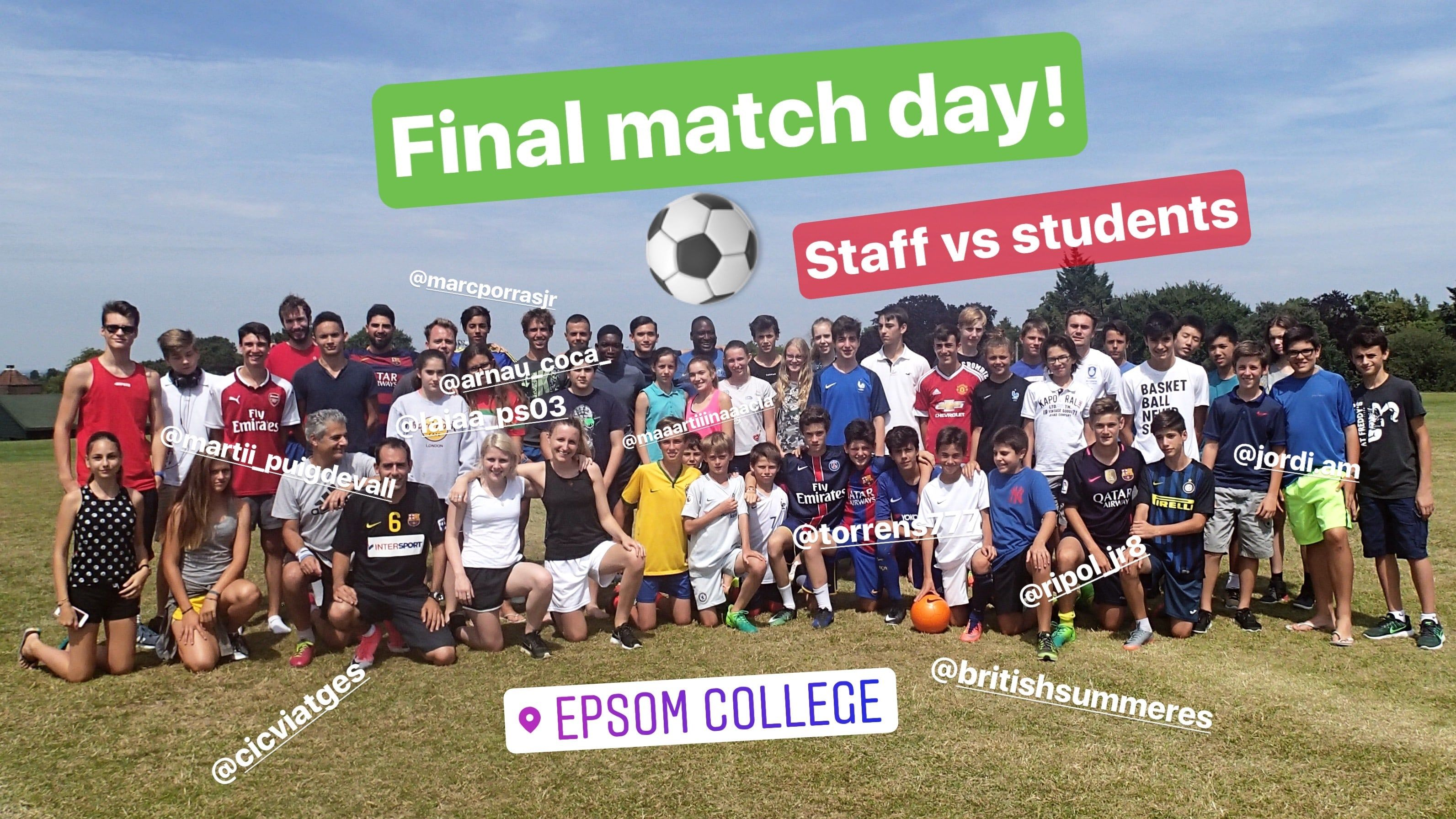 Staff vs Student match Epsom Sports ideal para hacer
