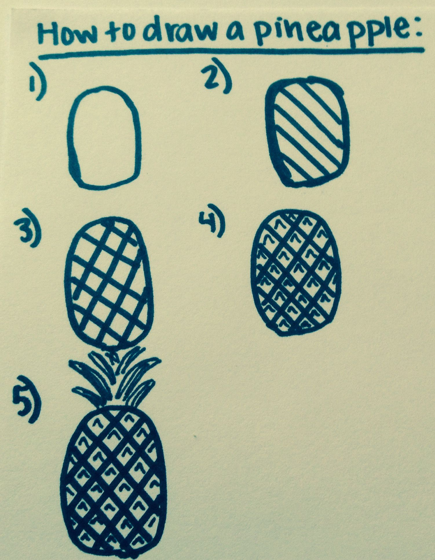 5 Easy Steps To Draw A Pineapple In 2019 Easy Chalk