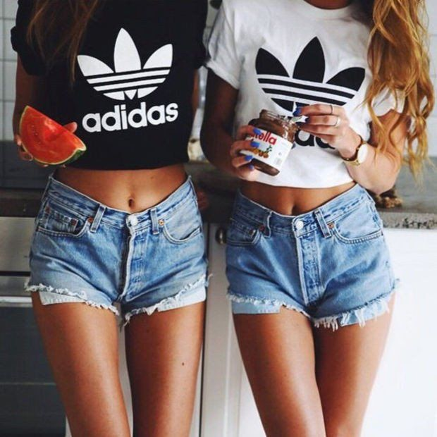 "Sexy ""Adidas"" Letter Print Short Shirt Top Tee"
