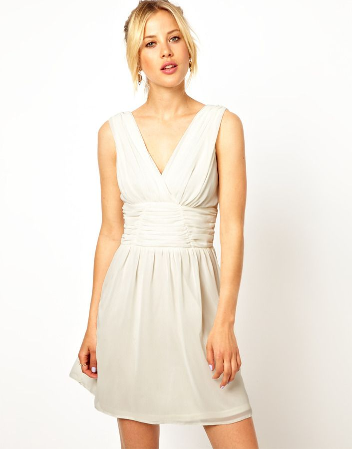cad888c3229 Asos Ruched Sleeveless Skater Dress on shopstyle.com
