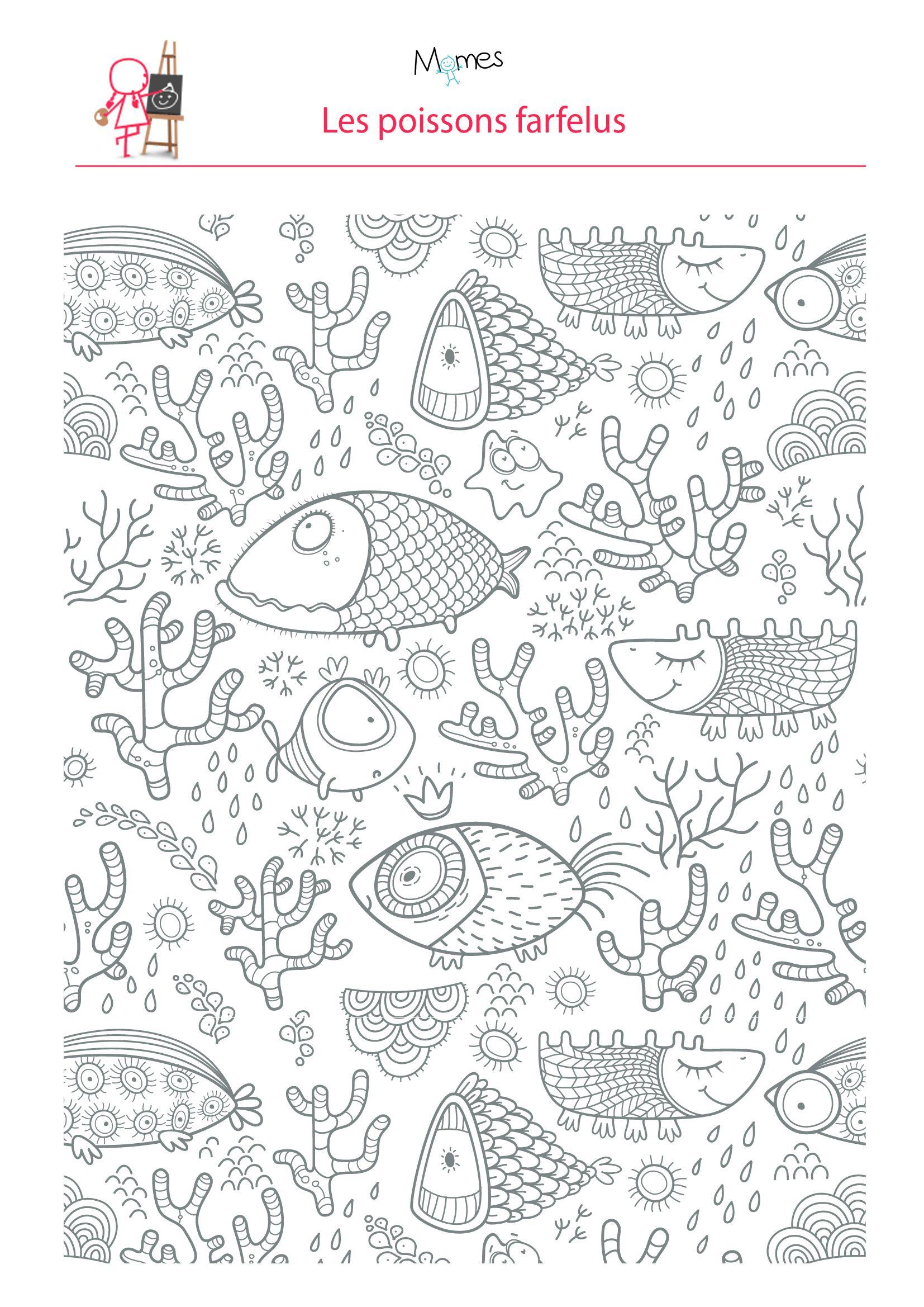 Coloriage poissons dans l 39 eau doodles adult coloring - Poisson dessin ...