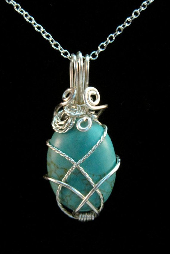 Wire Wrapped Turquoise Howlite Pendant Necklace, turquoise cabochon ...