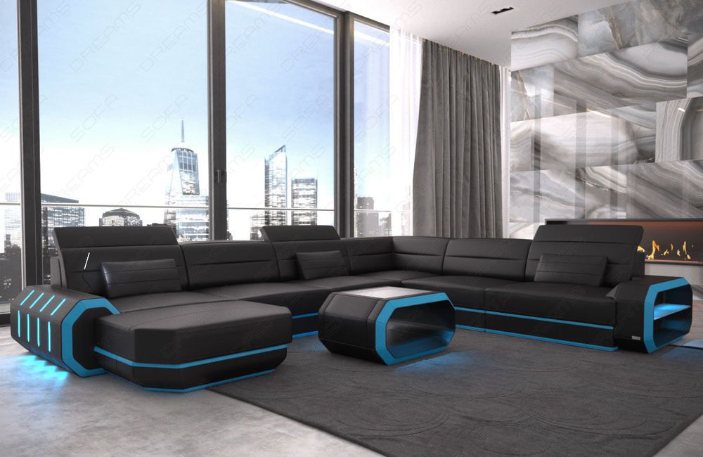 Wohnlandschaft Outlet Sectional Leather Sofa Roma Xl With Led Lights (rgb). Sofa