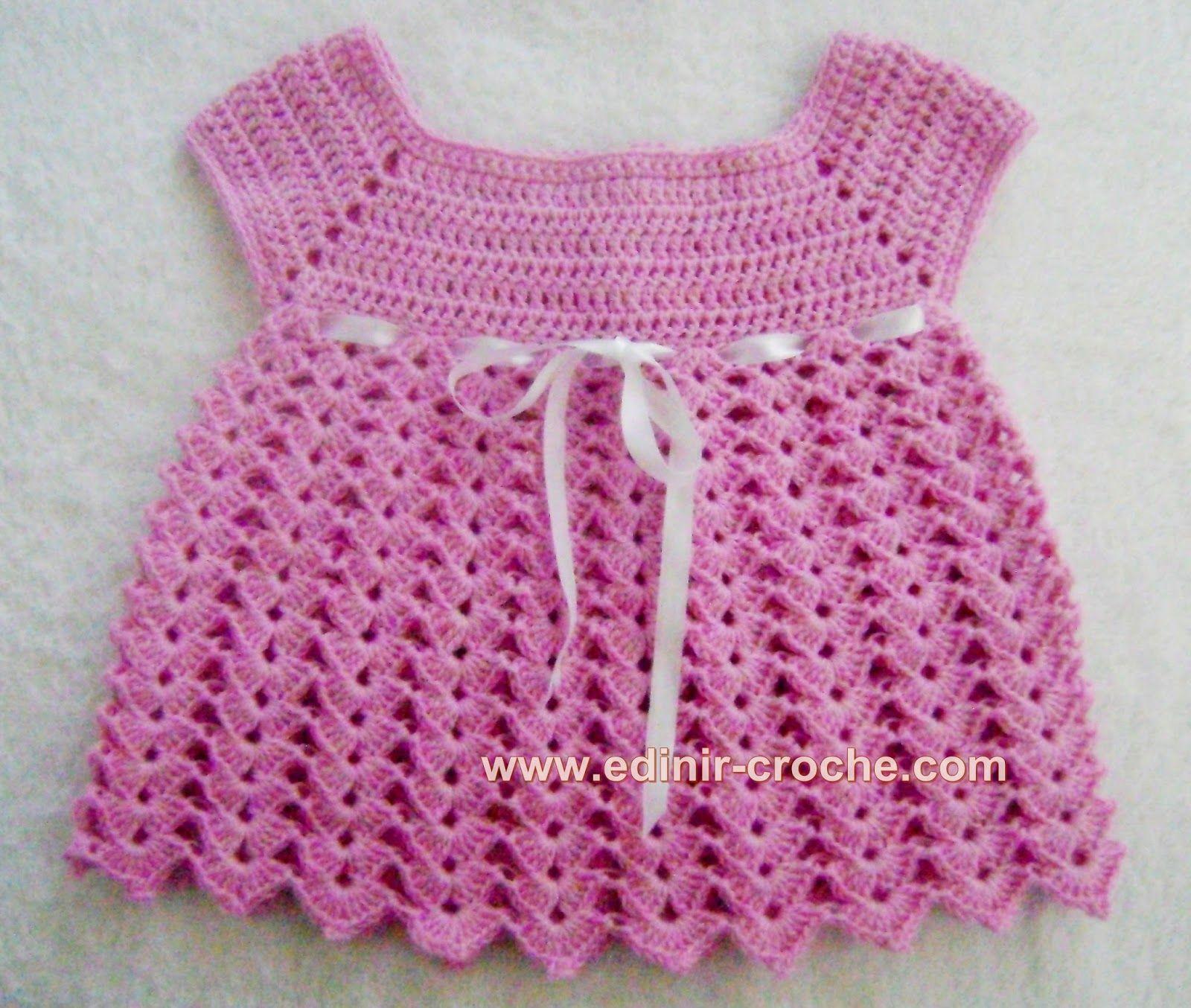 vestidinho rosa em crochê para bebê com edinir-croche video aula ...