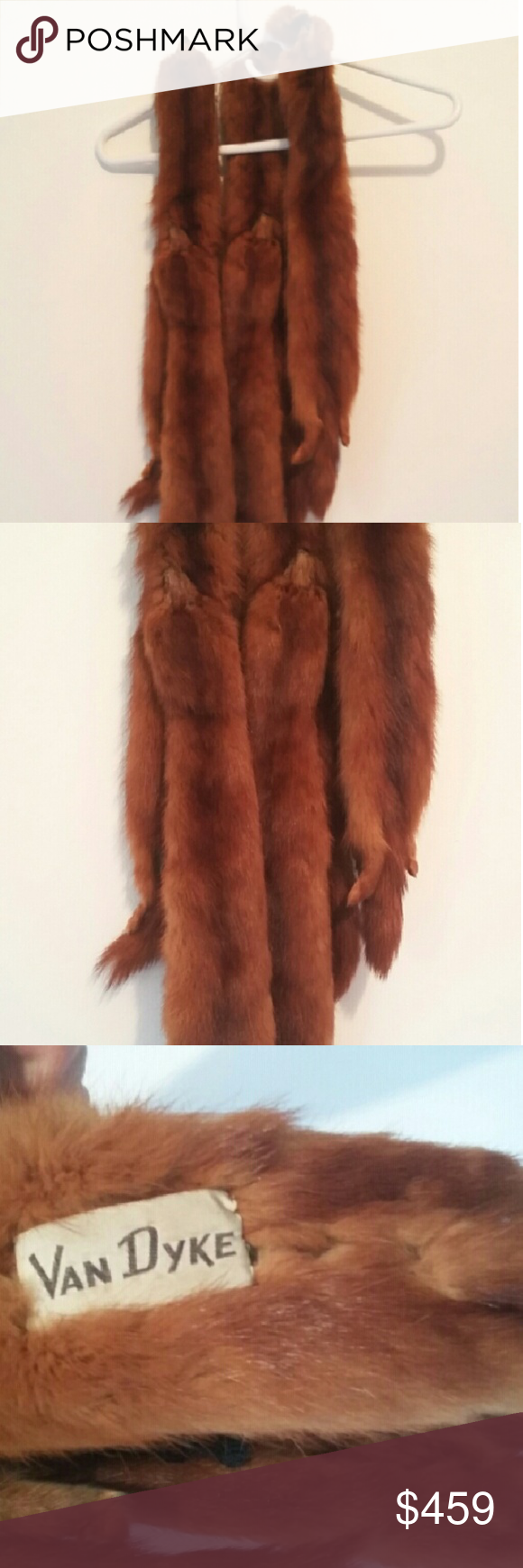 """Van Dyke Vintage Genuine Red Fox Furr (6 Foxes) Amazing Condition! Luxurious """"Van Dyke"""" Vintage Genuine Red Fox Furr (6 Foxes). The foxes are fully intact, full red foxes. Including the head, tail and entire body. Super thick, super rare. I personally have a big problem with posting this piece as I do not believe in the barbaric manner these animals are killed so some rich lady can show off to others that her man spends more time at his office than with her. But this is a favor for and…"""