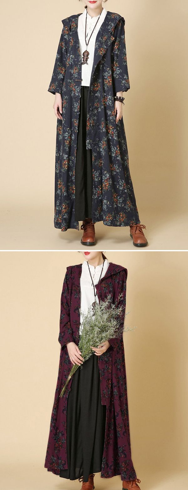 Vintage printed frog hooded long thin coat for women clothes