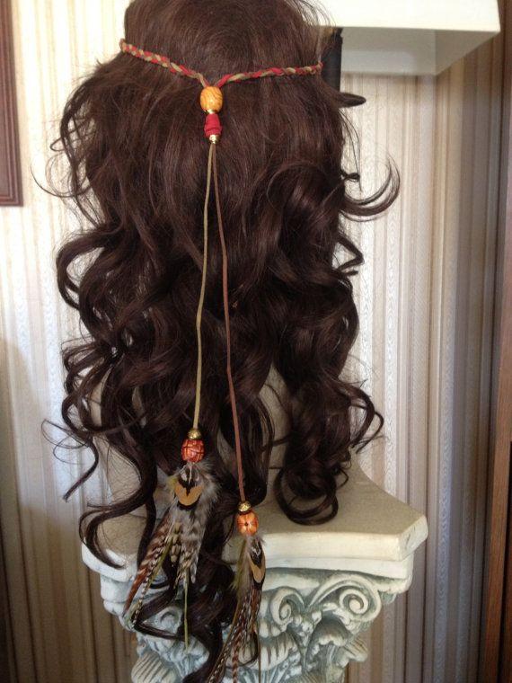 Women BOHO Syn suede Orange Feather beads Braided Hair head band Headband Wrap