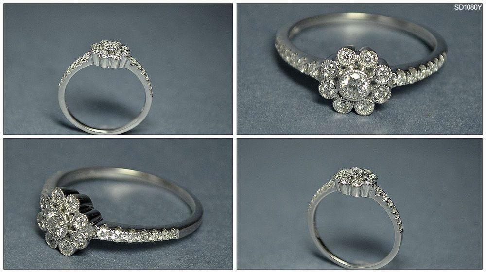 Neil Lane 14k White Gold Diamond Flower Halo Fashion Ladies Ring ...