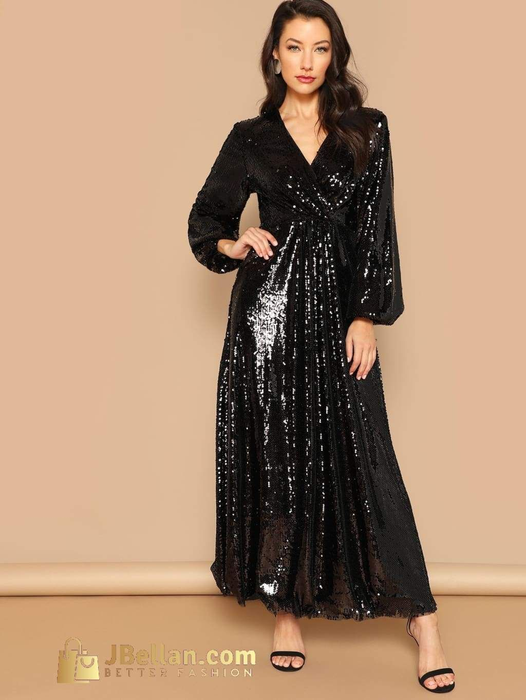 Wrap Front Lantern Sleeve Sequin Dress Maxi Dress Elegant Maxi Dress Sequin Maxi Dress [ 1364 x 1024 Pixel ]