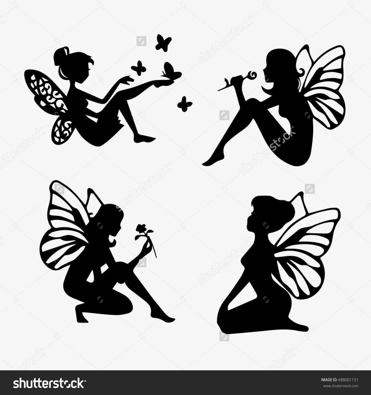cute fairies silhouette collection little fairies set hand drawn
